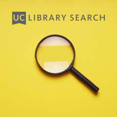 A magnifying glass on a yellow background with UC Library Search logo