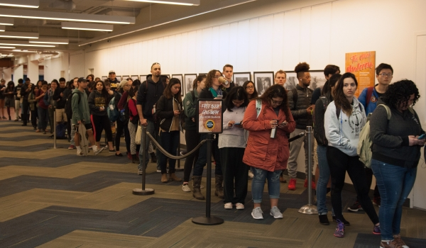 UCSB students wait in line at Library