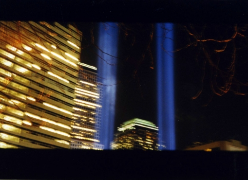 photo of memorial lights in place of World Trade Centers